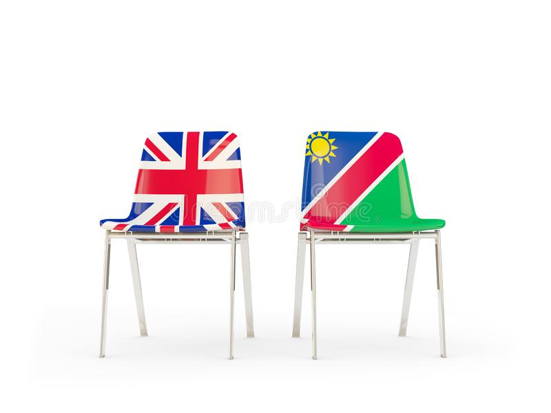 Two chairs with flags of United Kingdom and namibia isolated on white. Communication/dialog concept. 3D illustration stock illustration