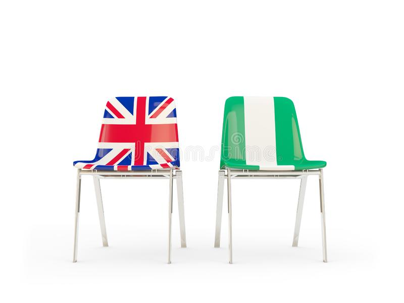 Two chairs with flags of United Kingdom and nigeria isolated on white. Communication/dialog concept. 3D illustration stock illustration