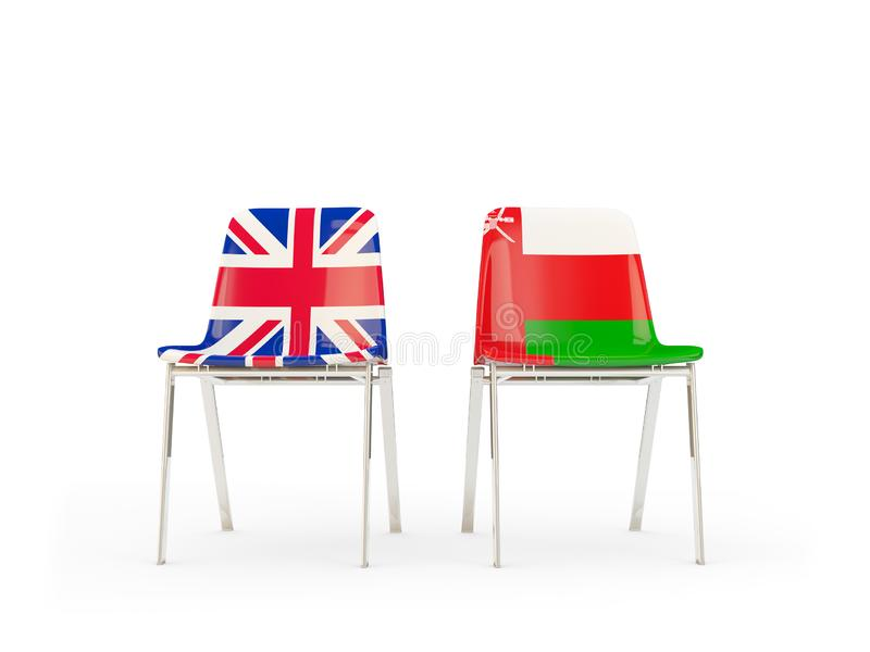 Two chairs with flags of United Kingdom and oman isolated on white. Communication/dialog concept. 3D illustration royalty free illustration