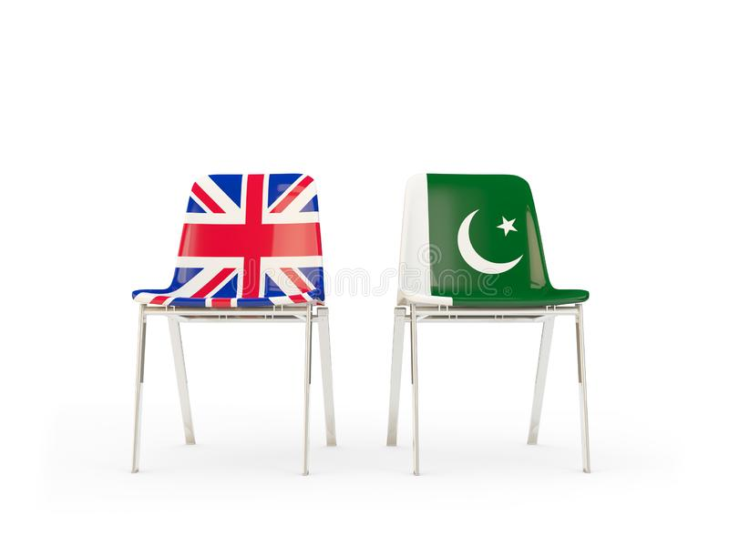 Two chairs with flags of United Kingdom and pakistan isolated on white. Communication/dialog concept. 3D illustration vector illustration