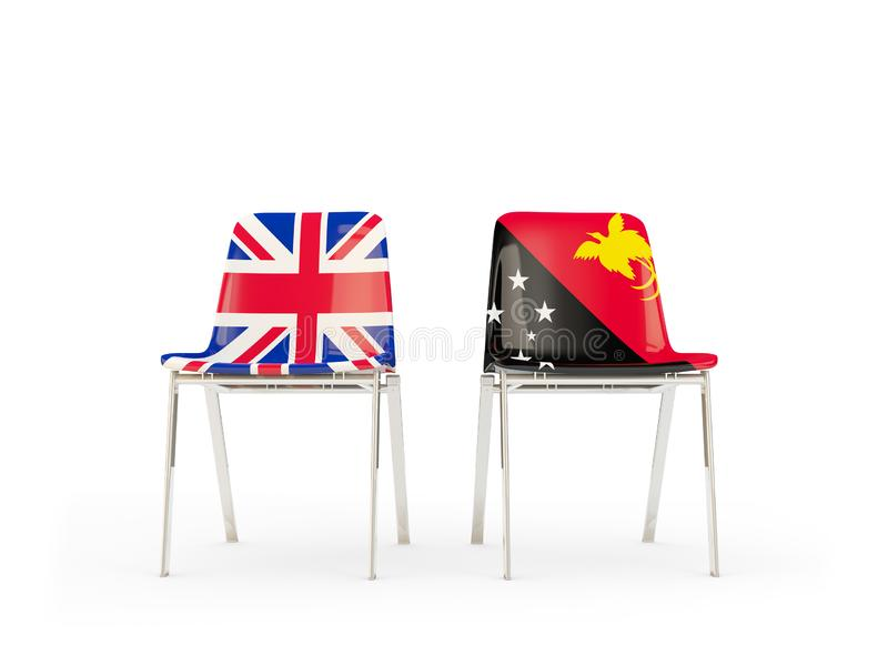 Two chairs with flags of United Kingdom and papua new guinea isolated on white. Communication/dialog concept. 3D illustration stock illustration