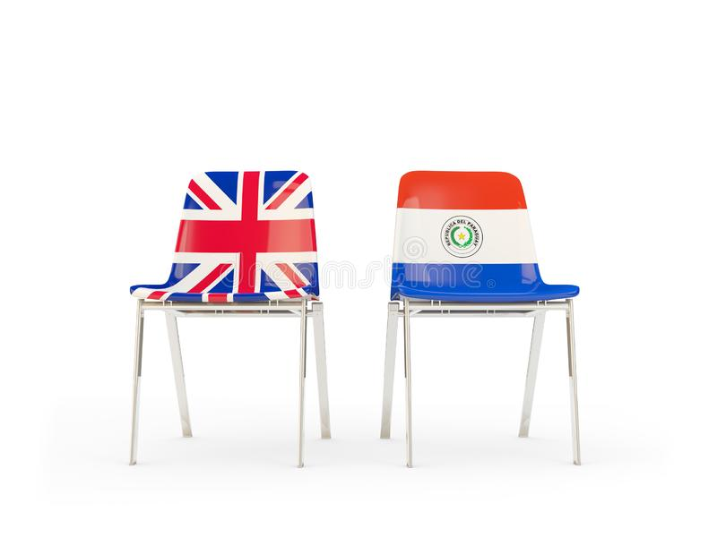 Two chairs with flags of United Kingdom and paraguay isolated on white. Communication/dialog concept. 3D illustration stock illustration