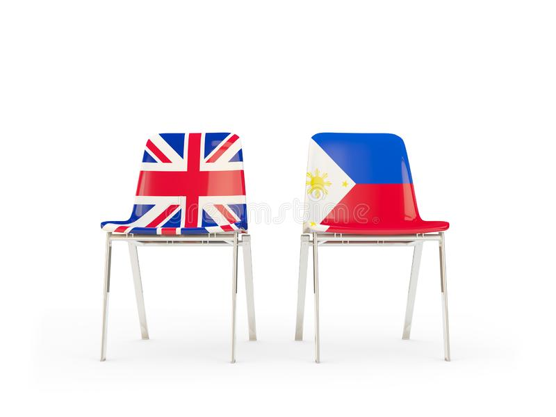 Two chairs with flags of United Kingdom and philippines isolated on white. Communication/dialog concept. 3D illustration vector illustration