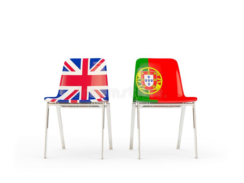 Two chairs with flags of United Kingdom and portugal isolated on white. Communication/dialog concept. 3D illustration vector illustration
