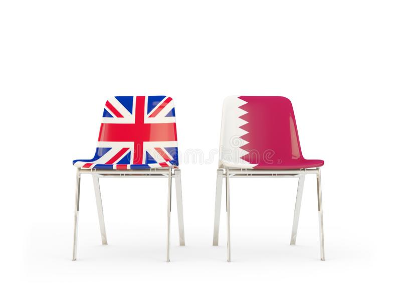 Two chairs with flags of United Kingdom and qatar isolated on white. Communication/dialog concept. 3D illustration vector illustration