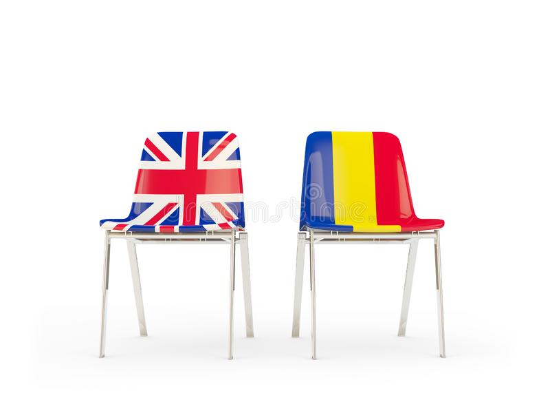 Two chairs with flags of United Kingdom and romania isolated on white. Communication/dialog concept. 3D illustration royalty free illustration