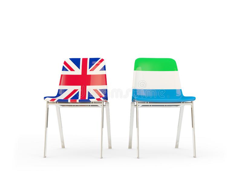 Two chairs with flags of United Kingdom and sierra leone isolated on white. Communication/dialog concept. 3D illustration stock illustration
