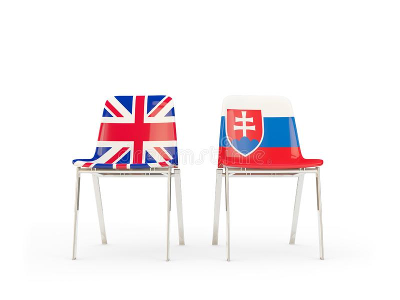 Two chairs with flags of United Kingdom and slovakia isolated on white. Communication/dialog concept. 3D illustration royalty free illustration