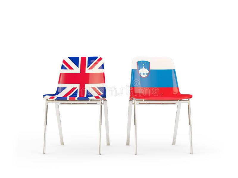 Two chairs with flags of United Kingdom and slovenia isolated on white. Communication/dialog concept. 3D illustration stock illustration