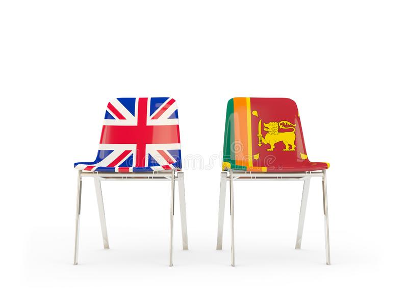 Two chairs with flags of United Kingdom and sri lanka isolated on white. Communication/dialog concept. 3D illustration royalty free illustration
