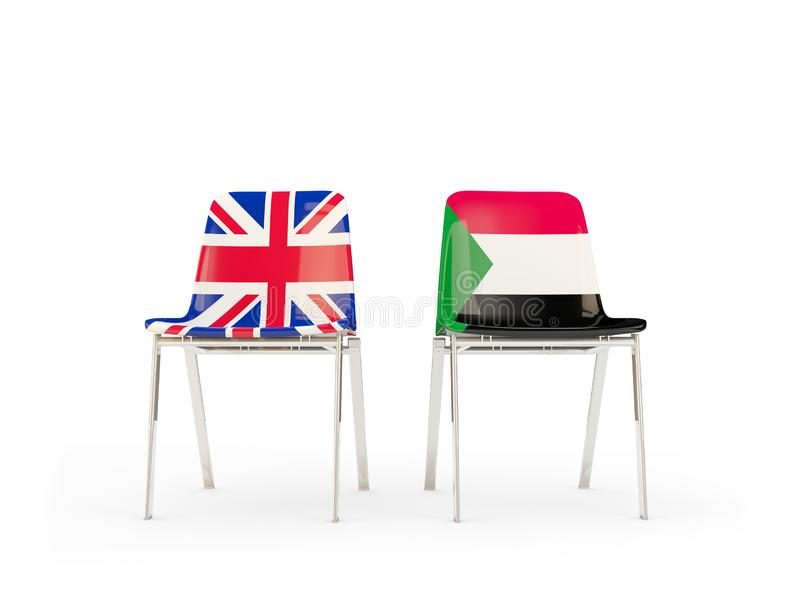 Two chairs with flags of United Kingdom and sudan isolated on white. Communication/dialog concept. 3D illustration vector illustration