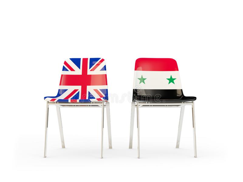 Two chairs with flags of United Kingdom and syria isolated on white. Communication/dialog concept. 3D illustration stock illustration