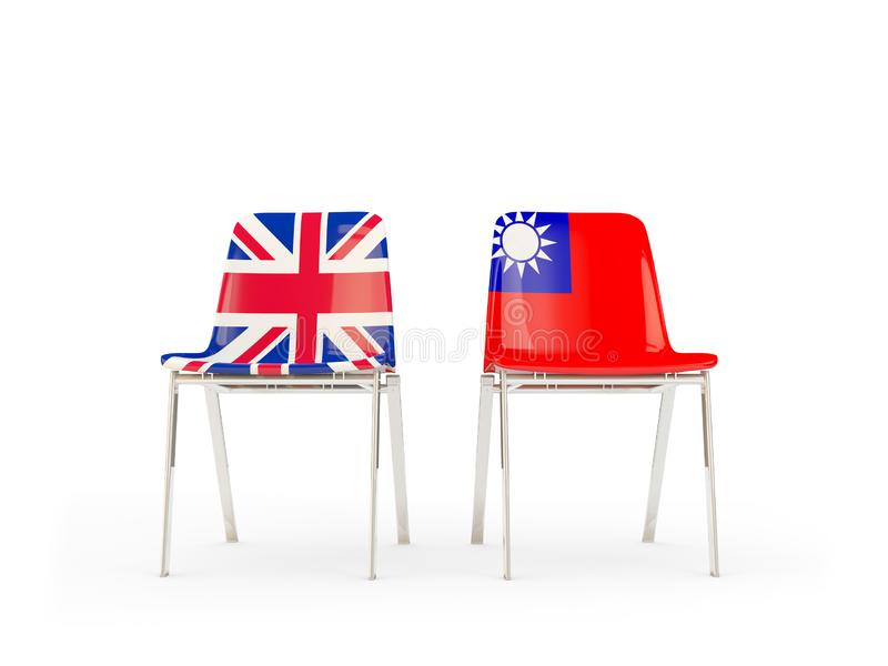 Two chairs with flags of United Kingdom and taiwan isolated on white. Communication/dialog concept. 3D illustration stock illustration