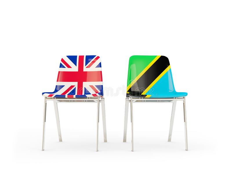 Two chairs with flags of United Kingdom and tanzania isolated on white. Communication/dialog concept. 3D illustration vector illustration