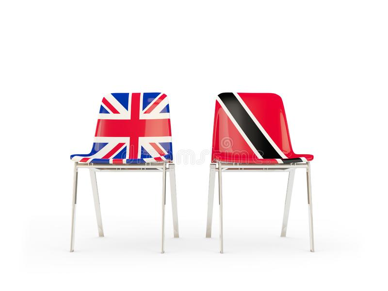 Two chairs with flags of United Kingdom and trinidad and tobago isolated on white. Communication/dialog concept. 3D illustration royalty free illustration
