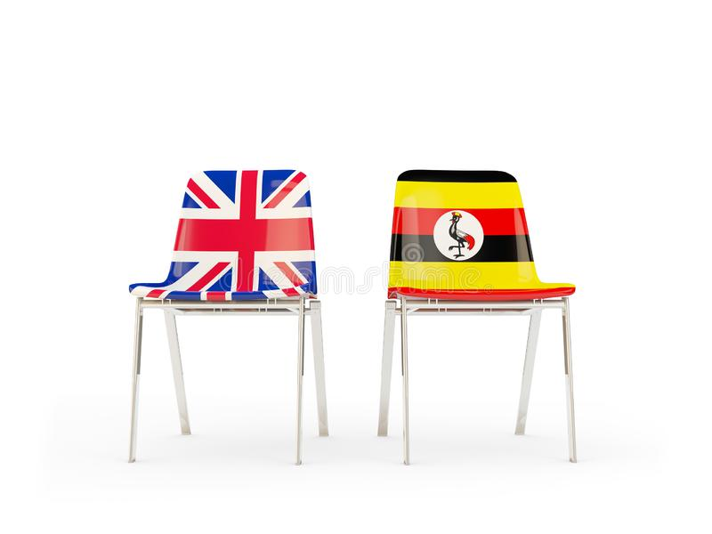 Two chairs with flags of United Kingdom and uganda isolated on white. Communication/dialog concept. 3D illustration stock illustration
