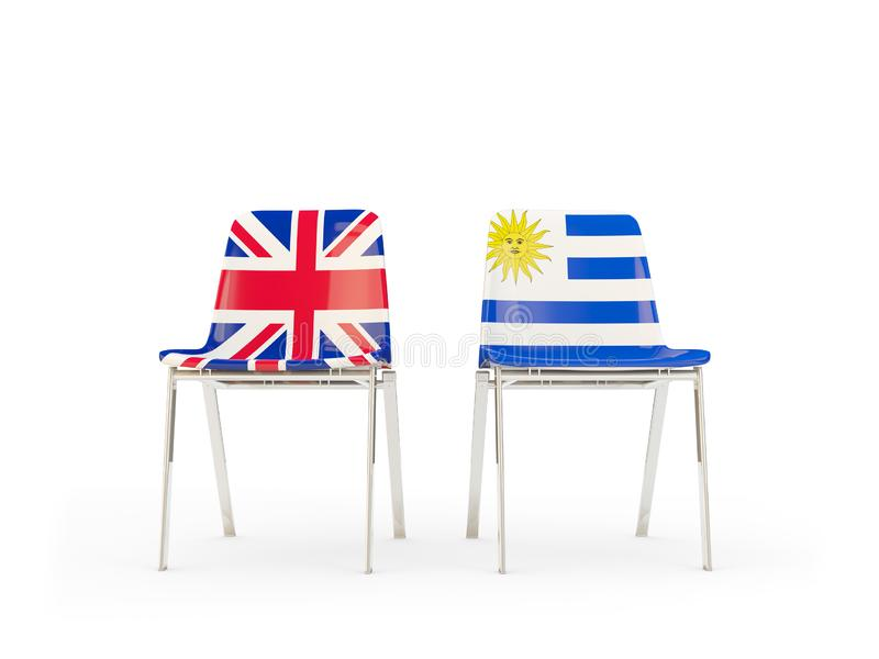 Two chairs with flags of United Kingdom and uruguay isolated on white. Communication/dialog concept. 3D illustration royalty free illustration