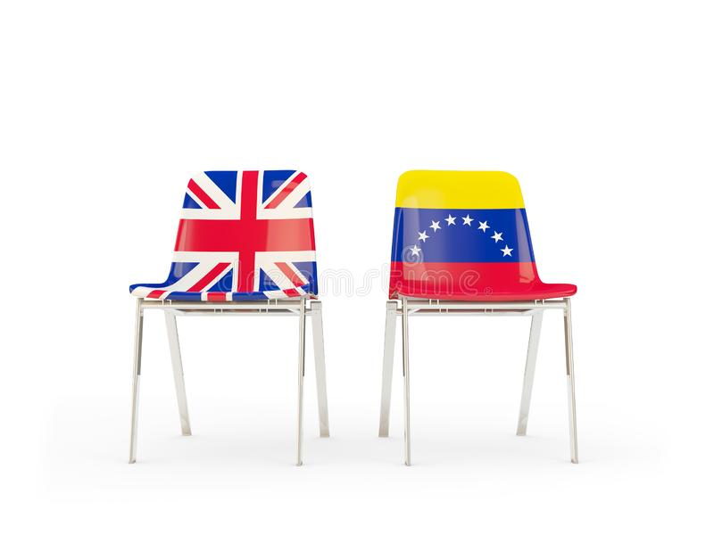 Two chairs with flags of United Kingdom and venezuela isolated on white. Communication/dialog concept. 3D illustration stock illustration