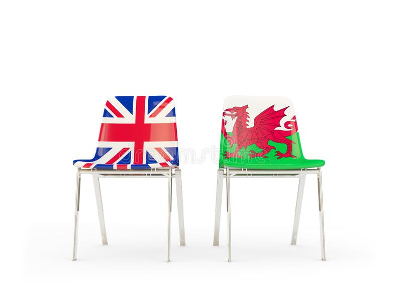 Two chairs with flags of United Kingdom and wales isolated on white. Communication/dialog concept. 3D illustration royalty free illustration
