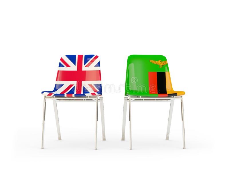Two chairs with flags of United Kingdom and zambia isolated on white. Communication/dialog concept. 3D illustration vector illustration