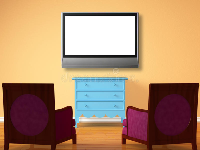 Two chairs opposite wooden bedside with the lcd tv stock illustration