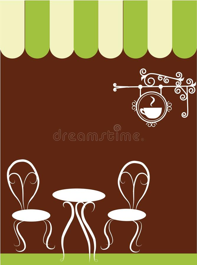 Two chairs and table in a coffee shop. Illustration