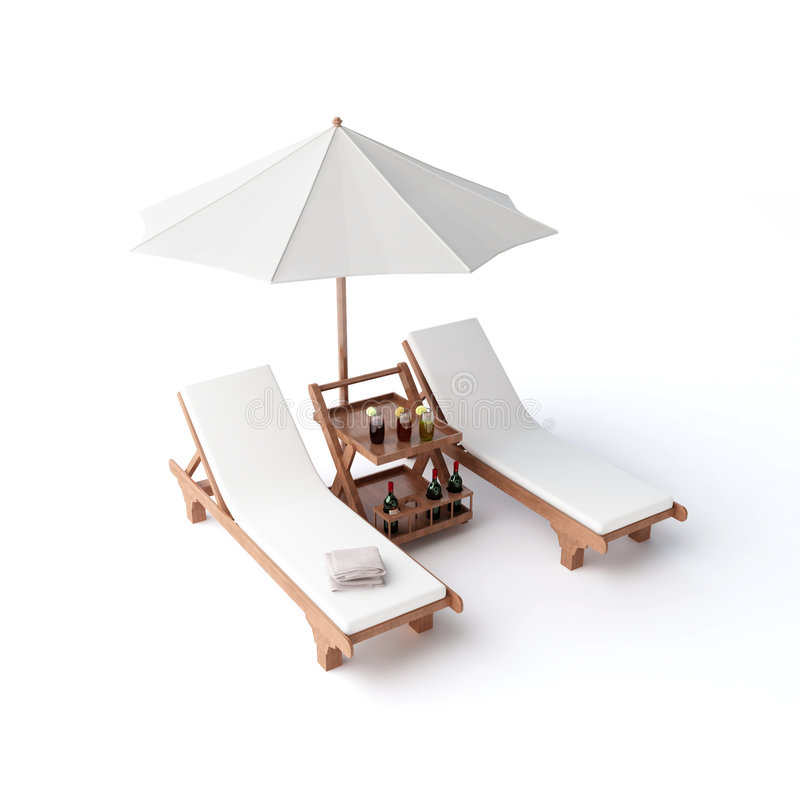 Two chairs and umbrella. Wooden modern furniture comfortable paradise royalty free stock photography