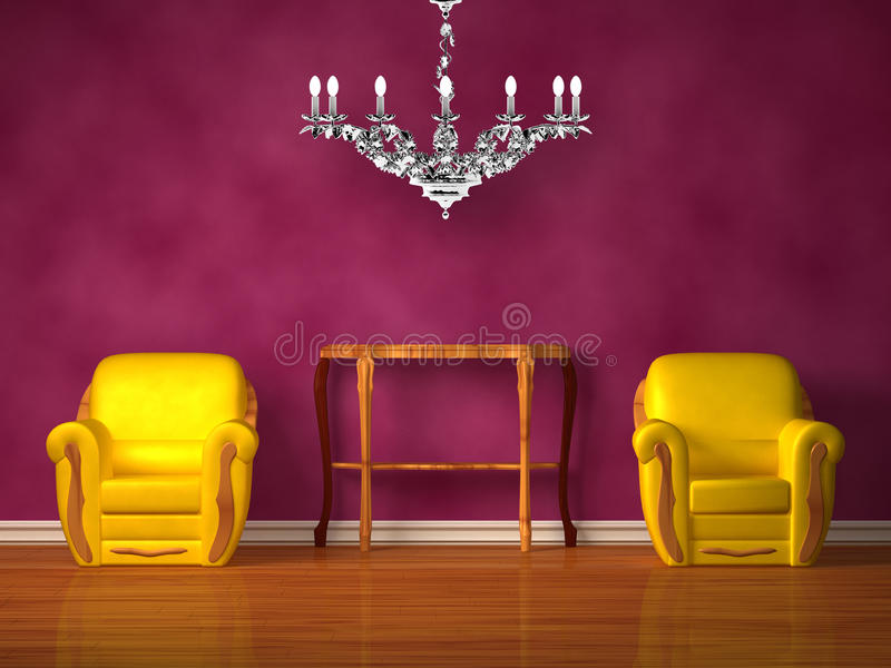 Two chairs with wooden console and chandelier vector illustration