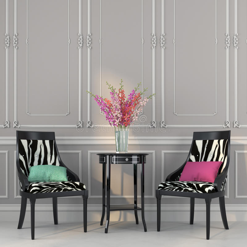 Download Two Chairs With Zebra Print And A Table Stock Image   Image Of  Elegance,