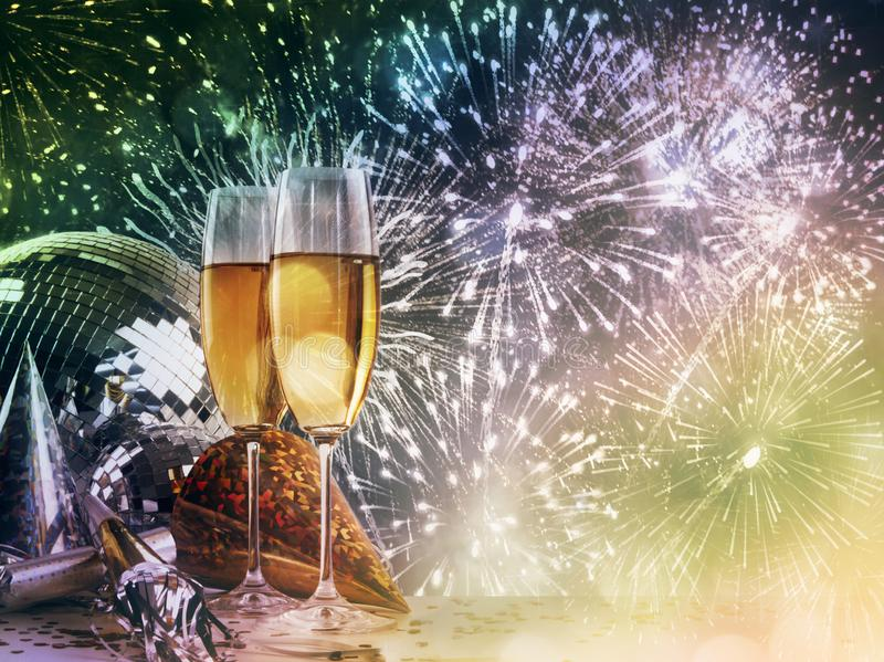 Champagne glasses against New Year celebrations stock image