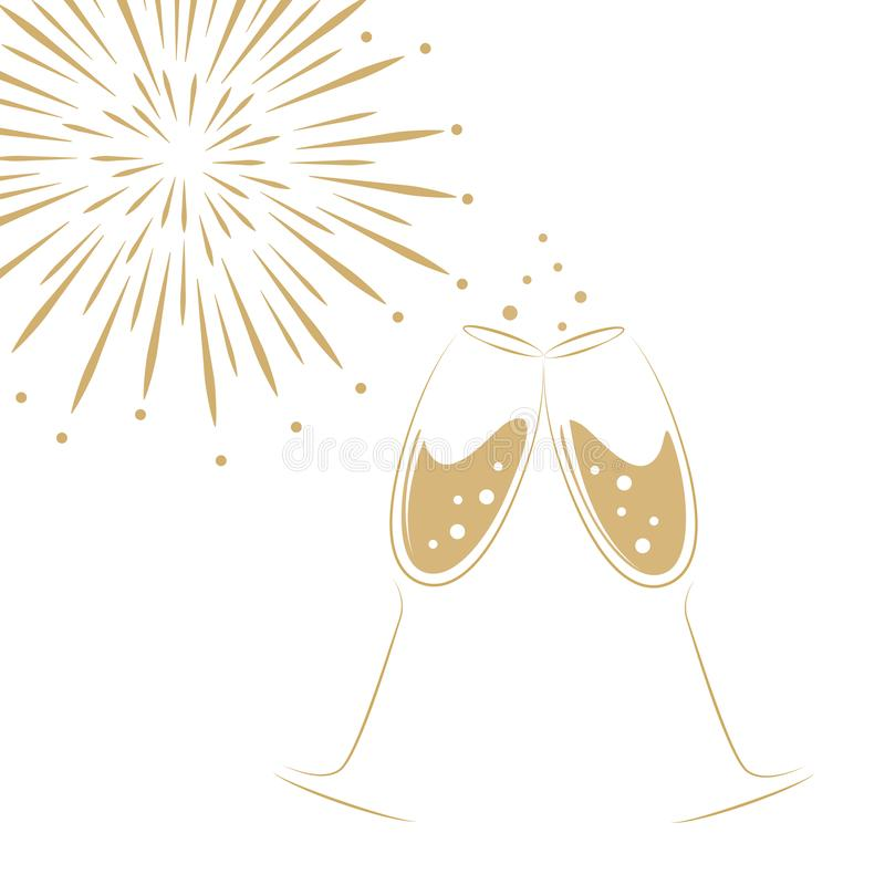 Free Two Champagne Glasses And Fireworks On A White Background Royalty Free Stock Photos - 126567088