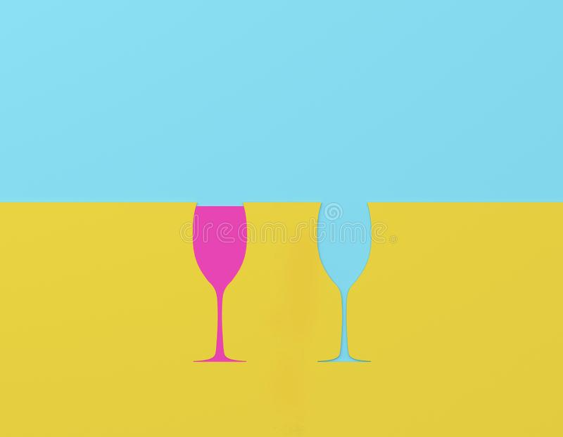 Two champagne glasses contrast on blue and yellow pastel background. Party minimal concept. Two champagne glasses contrast on blue and yellow pastel background stock illustration