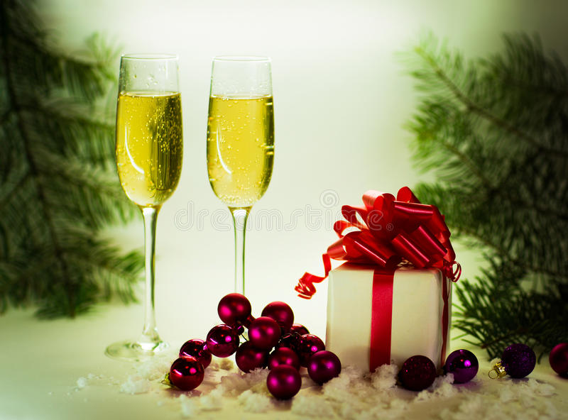 Two champagne glasses royalty free stock photography