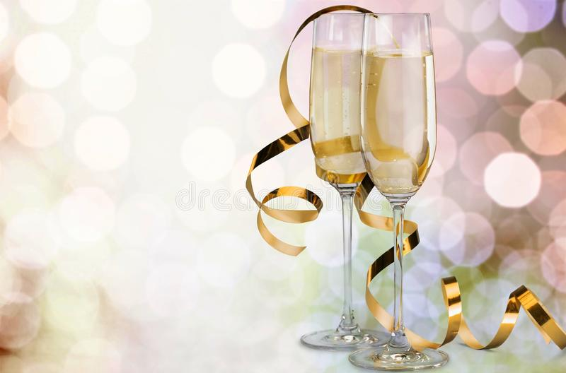 Two glasses of champagne on background stock image