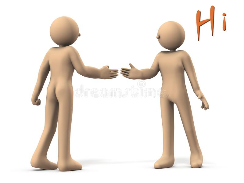 Two characters shaking hands. One is a back view. White background. 3D illustration. Man, 3dcg, abstract, begin, business, scene, talk, career, change stock illustration