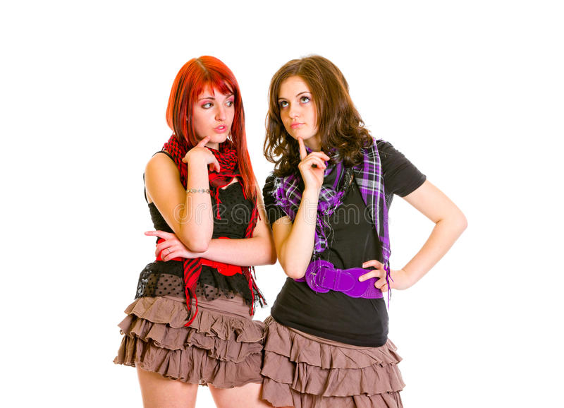 Download Two Charming Girlfriends Thinking About Problems Stock Photo - Image: 18521480