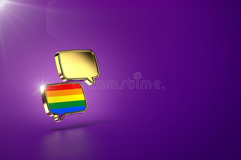 Two chat clouds - one with rainbow colors inside. Dialog between homosexual and heterosexual people, reaching agreements and peace. Concept. Purple background royalty free illustration