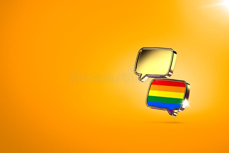 Two chat clouds - one with rainbow colors inside. Dialog between homosexual and heterosexual people, reaching agreements and peace. Concept. Orange background vector illustration