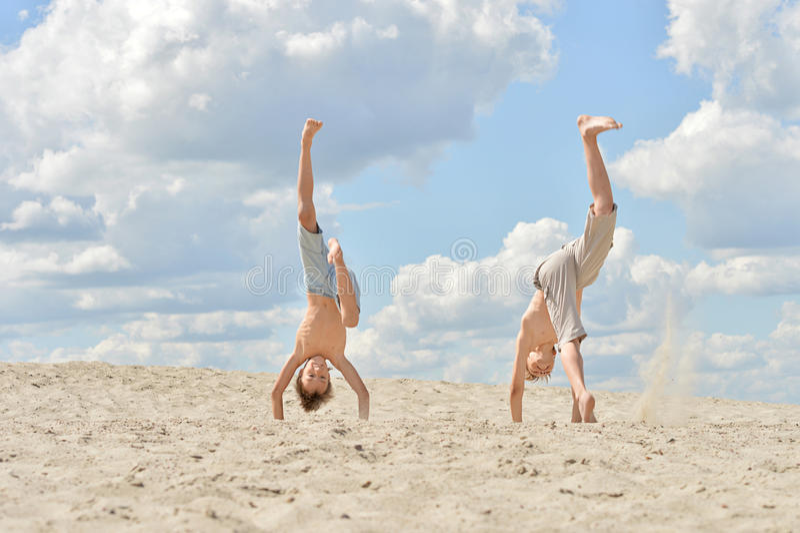 Two cheerful boys stock photo