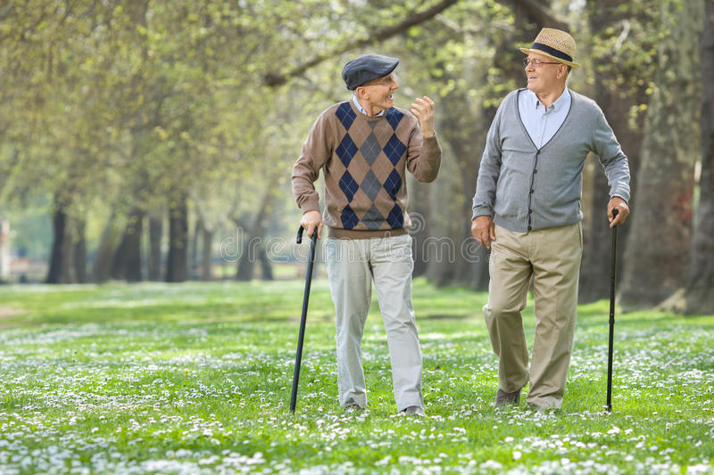 Two cheerful elderly men walking in a park. And having a conversation stock images