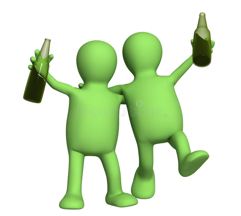 Two cheerful friends with bottles of beer stock illustration