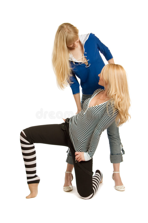Two cheerful girlfriends. royalty free stock photos