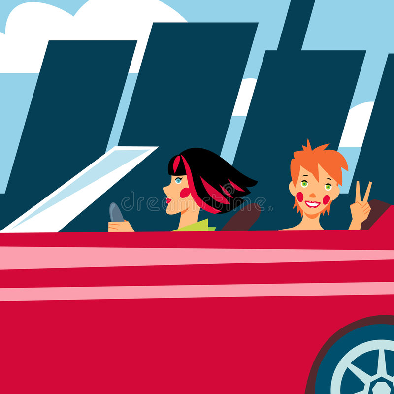 Two cheerful girls in red car. Going out of town royalty free illustration