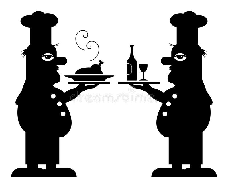 Download Two Chefs stock vector. Image of dinner, black, isolated - 22027308