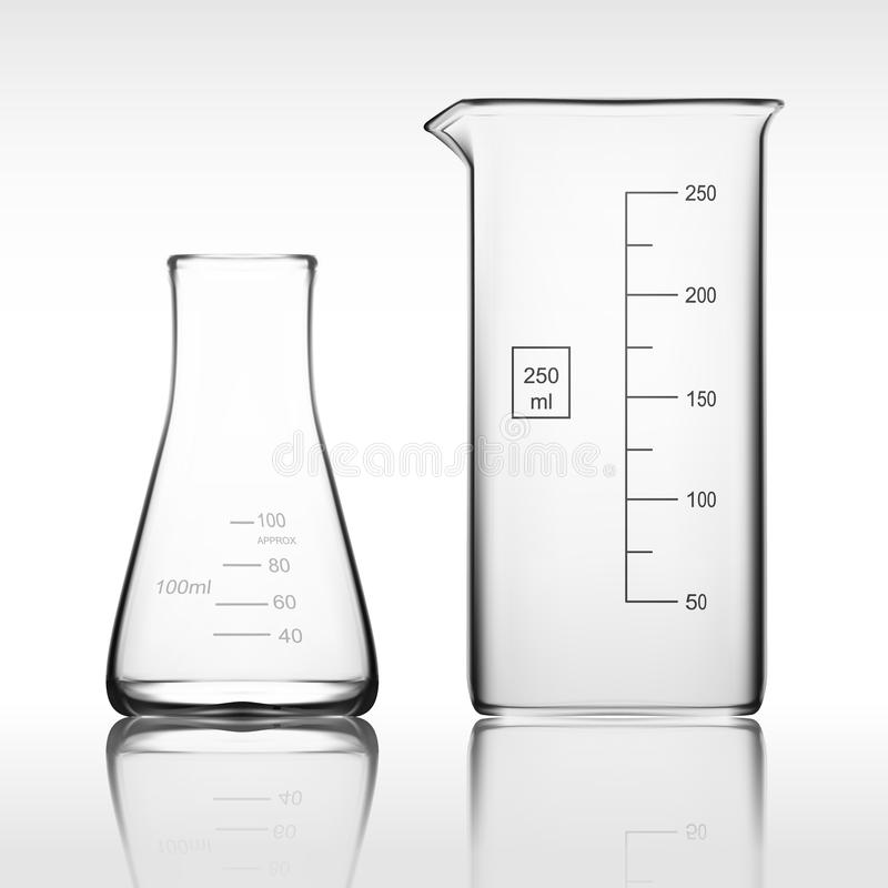 Two Chemical Laboratory Glassware Or Beaker. Glass Equipment Empty Clear Test Tube. EPS10 Vector stock image