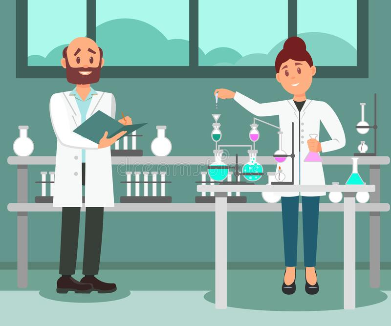 Two scientists working at laboratory. Man making notes in folder, woman doing chemical experiment. Flat vector design stock illustration