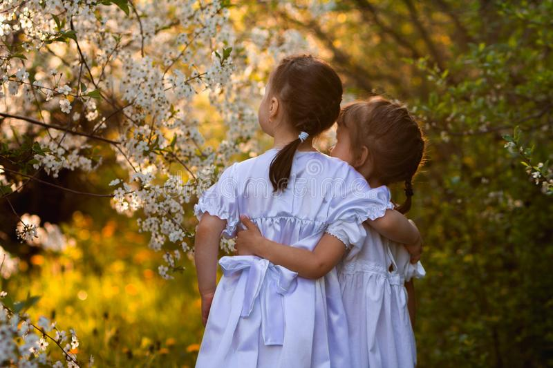 Two child girls friends in white dresses Empire style with sleeves-flashlight looking at flowers, leaves, beetles, butterflies,. Two child girls friends in white royalty free stock photos