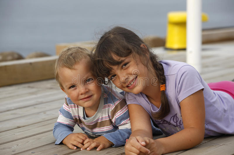 Two Children. Loving sibling on vacation. Poland royalty free stock photo