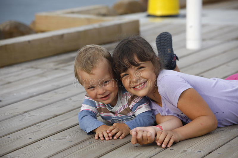Two Children. Loving sibling on vacation. Poland stock image