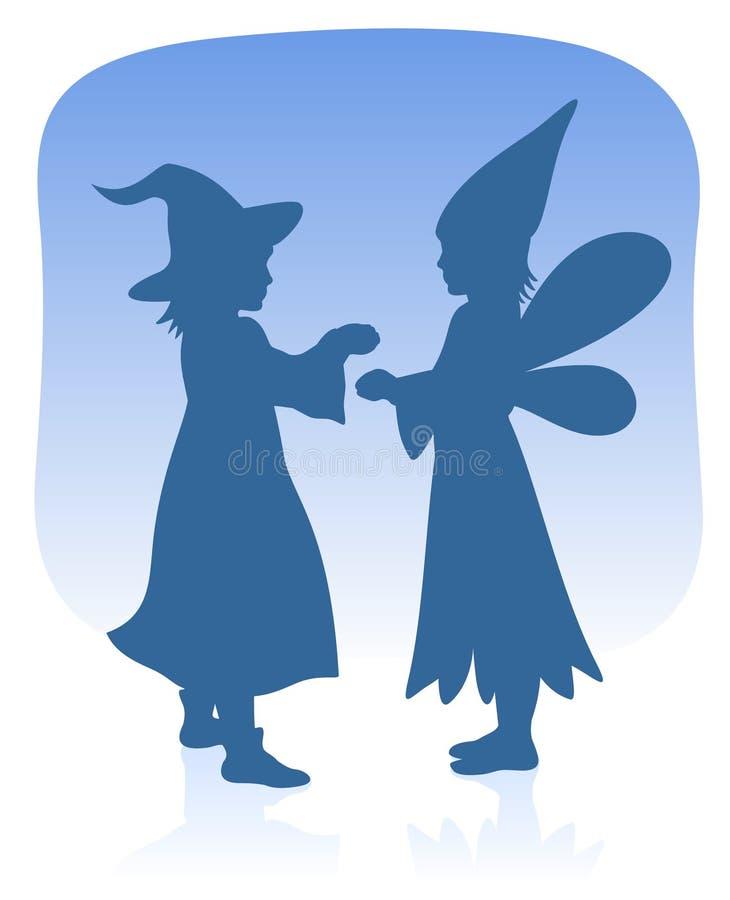 Two children stock illustration